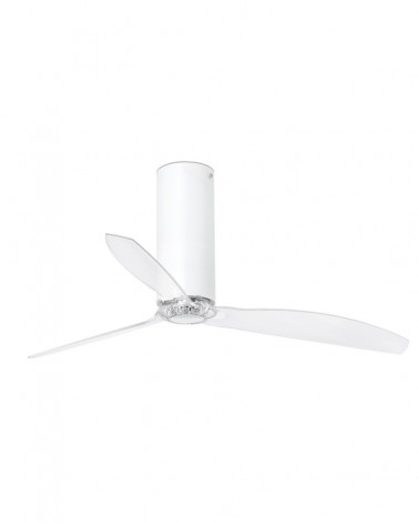 TUBE FAN Matt white/transparent ceiling fan with DC motor - 32034UL