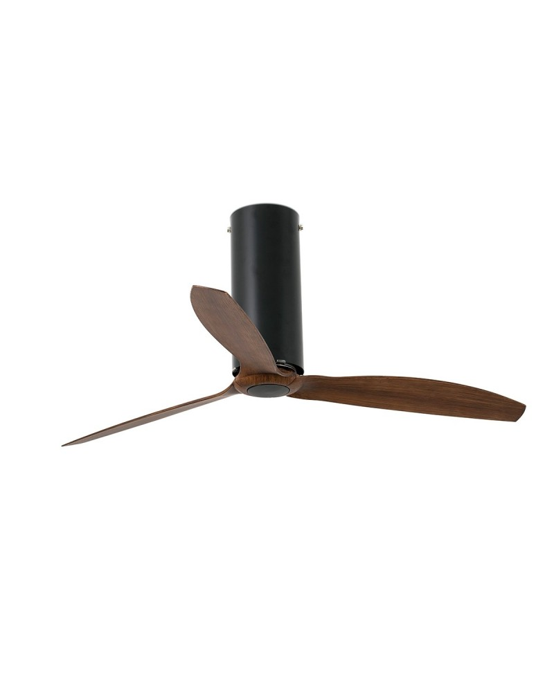 TUBE FAN Matt black/wood ceiling fan with DC motor - 32037UL