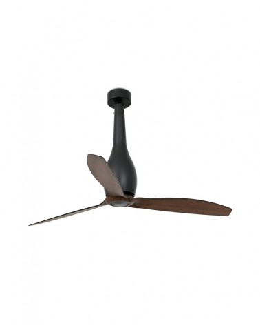 ETERFAN Matt black/wood ceiling fan with DC motor - 32004UL