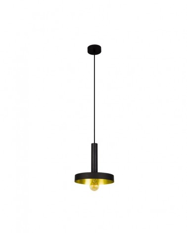 WHIZZ Black and satin gold pendant lamp - 20160