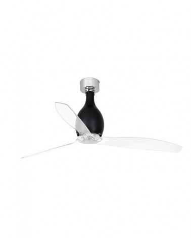 MINI ETERFAN Shiny black/transparent ceiling fan with DC motor - 32026UL