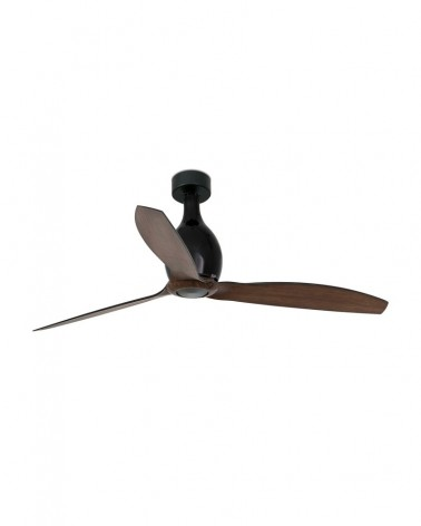 MINI ETERFAN Matt black/wood ceiling fan with DC motor - 32028UL