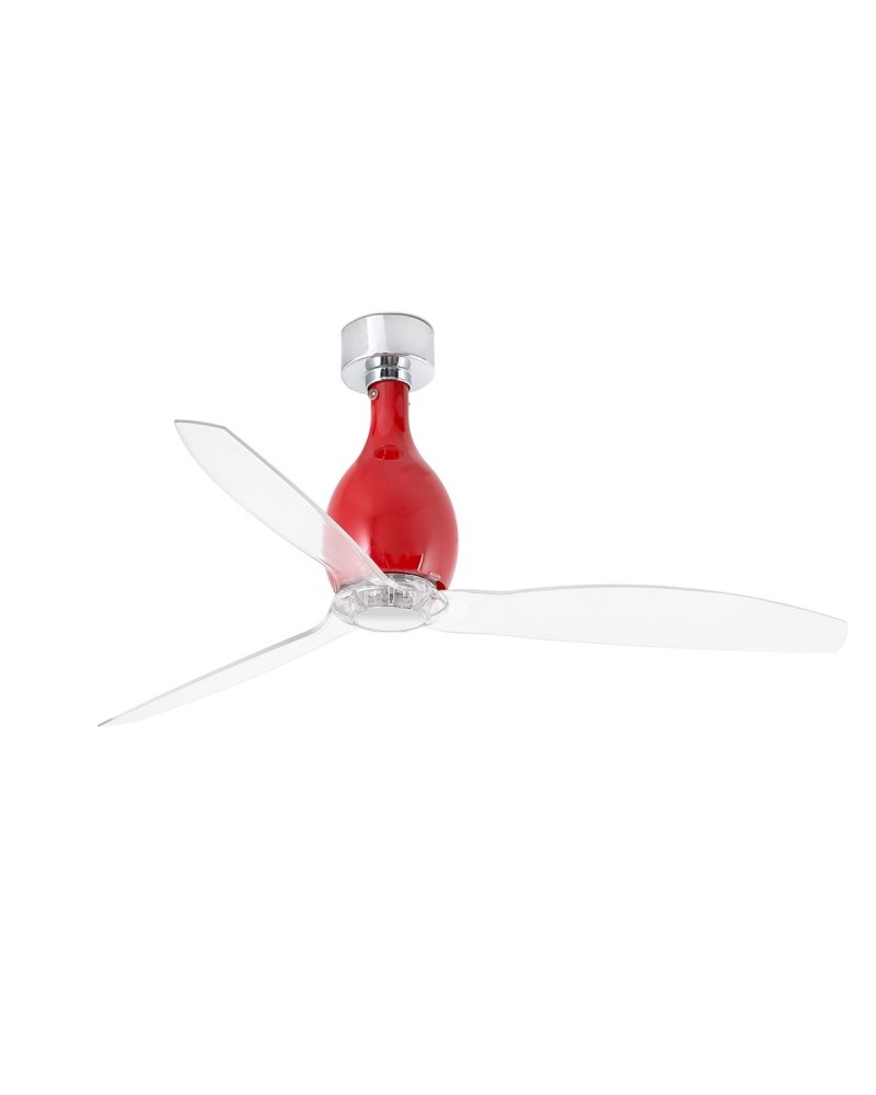 MINI ETERFAN Shiny red/transparent ceiling fan with DC motor - 32029UL
